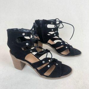 DV by Dolce Vita Shoes black suede gladiator heel